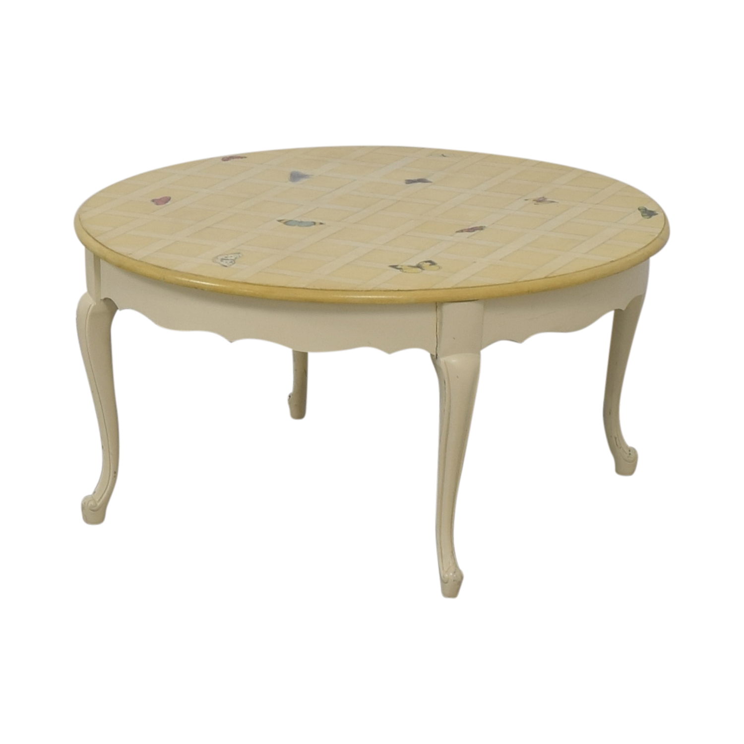 Round Custom Erfly Painted White Coffee Table Dimensions