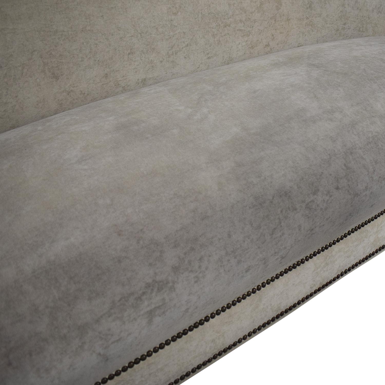 Beige Velvet Nailhead Single Cushion Sofa
