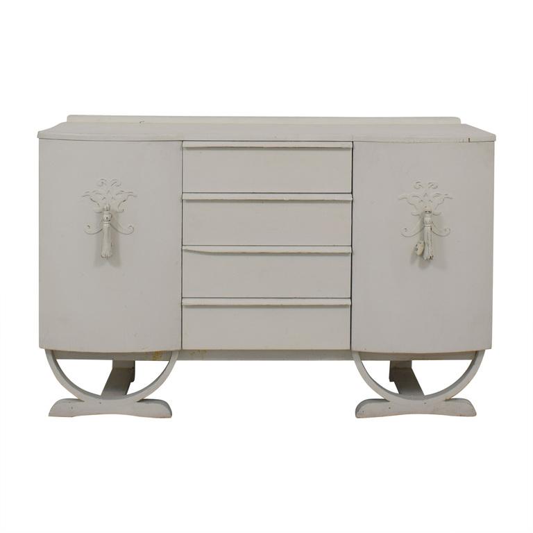 Antique Regency Style White Four-Drawer Sideboard Credenza Storage