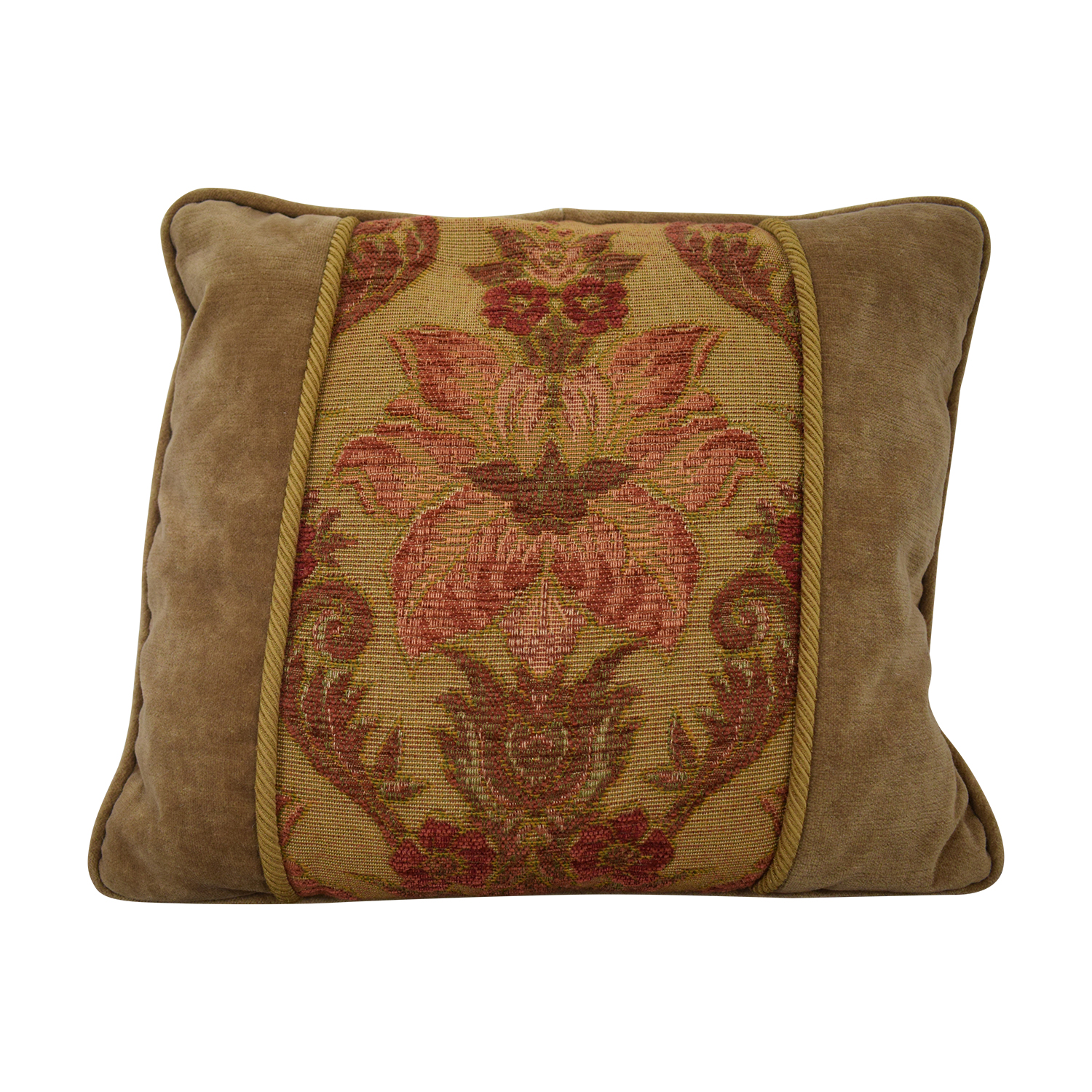 Custom Made Beige Multi-Colored Decorative Pillow for sale