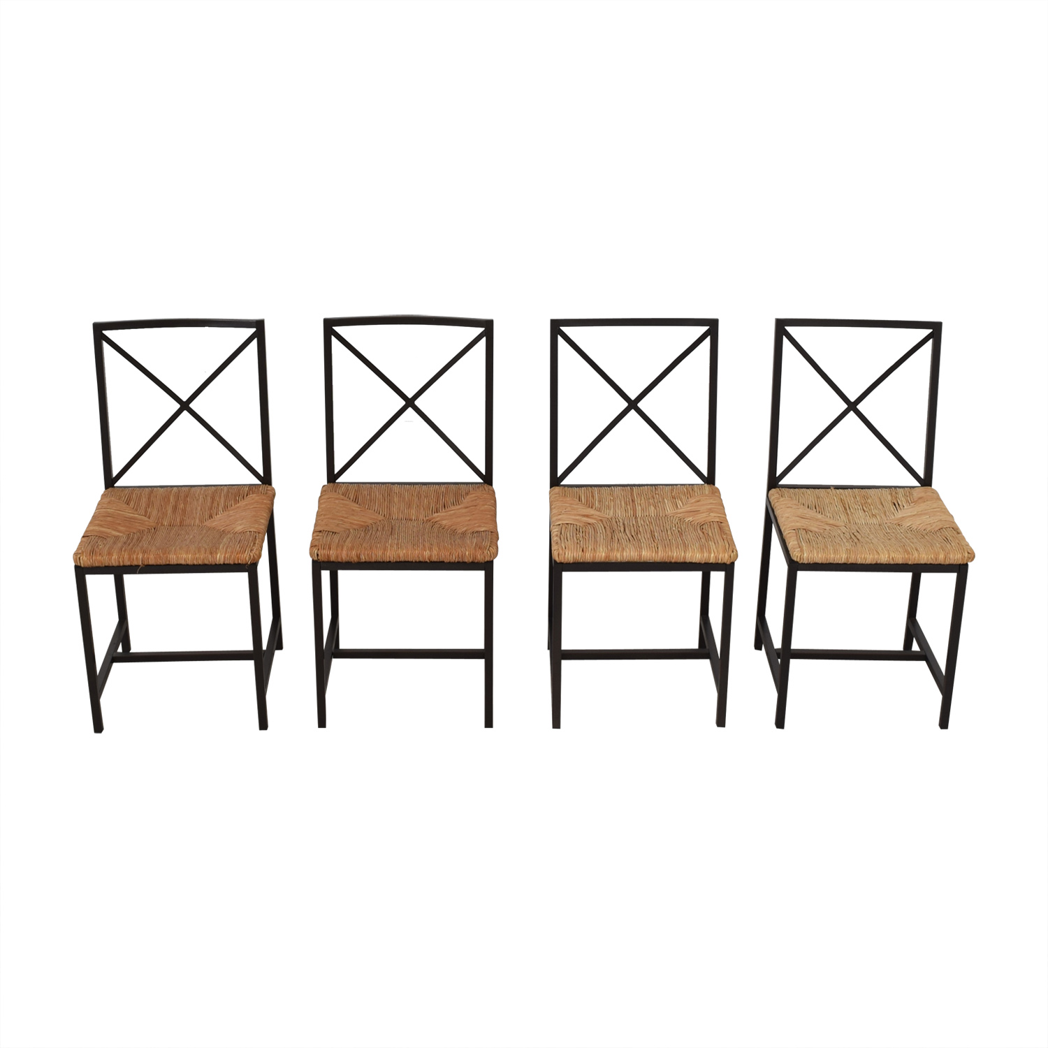 buy Black Metal Straw Chairs  Dining Chairs