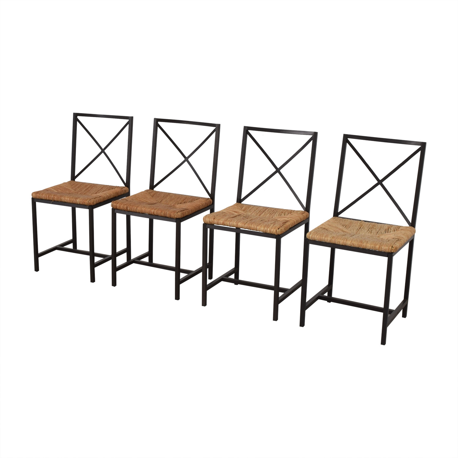 Black Metal Straw Chairs Dining Chairs