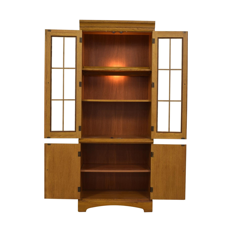 Hooker Furniture Hooker Furniture Oak and Glass Lighted Cabinet Storage