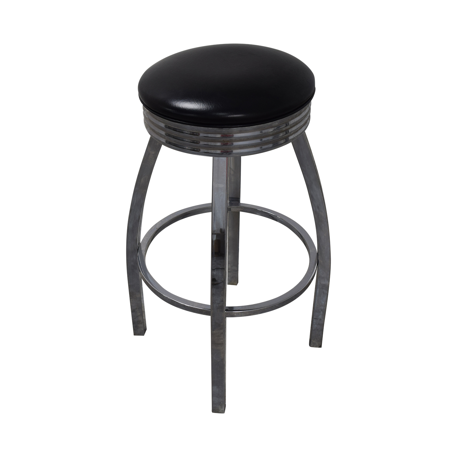 Chrome Glass and Black Bar with Stools Dining Sets