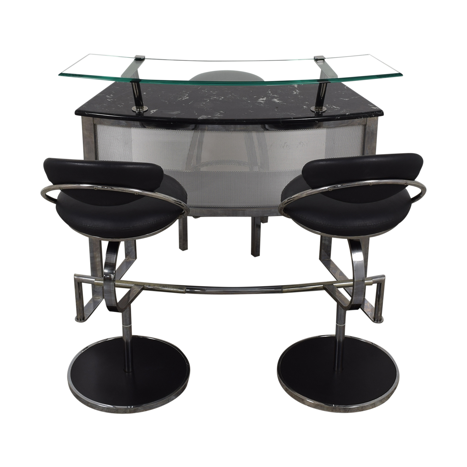 Chrome Glass and Black Bar with Stools / Tables