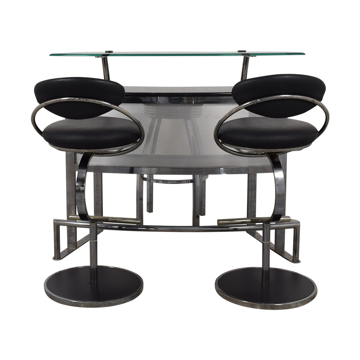 buy Chrome Glass and Black Bar with Stools