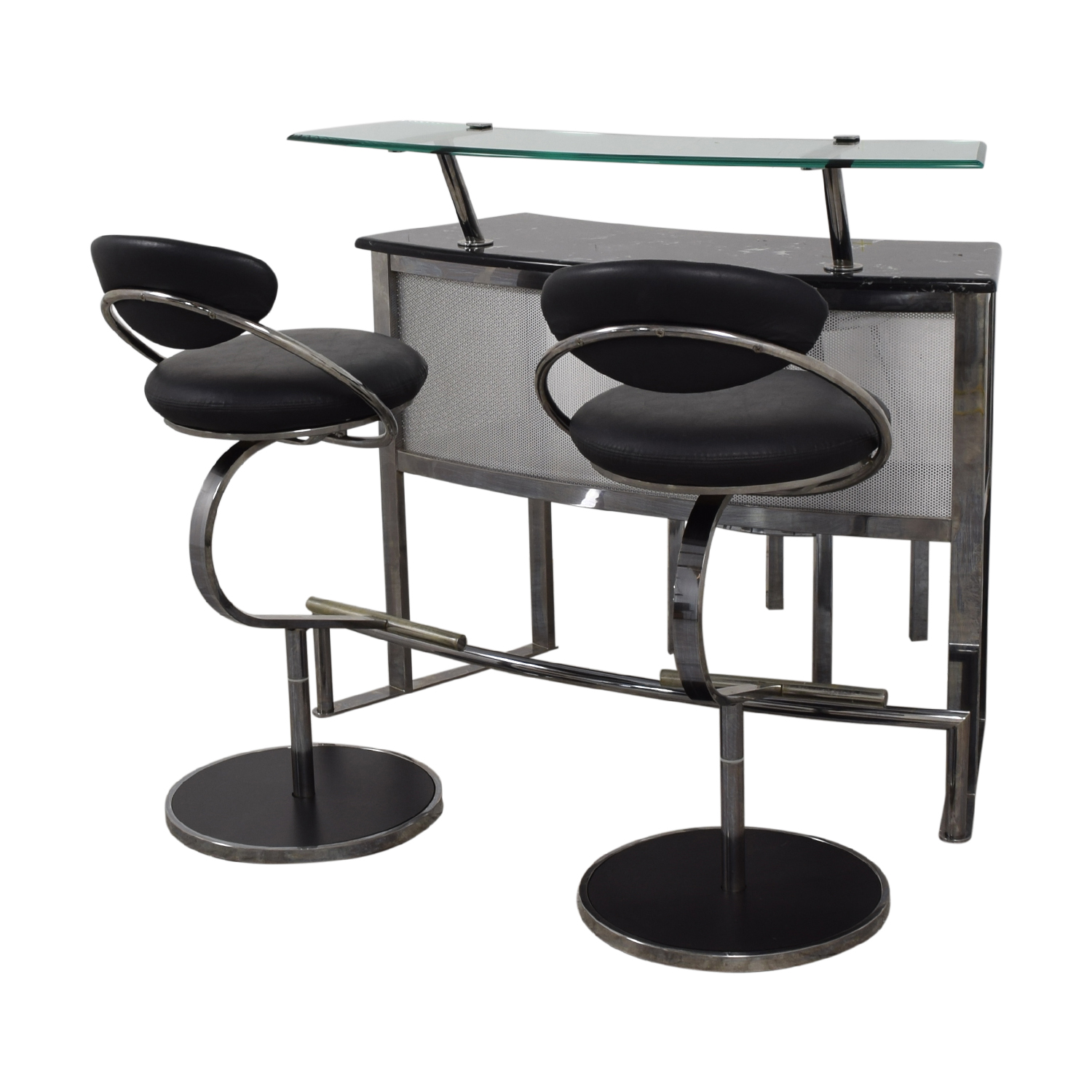 Chrome Glass and Black Bar with Stools for sale