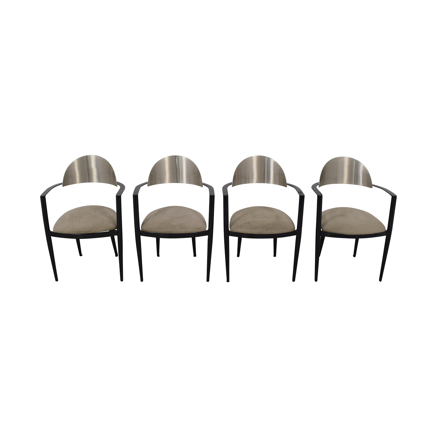 Chrome and Beige Upholstered Dining Chairs nj