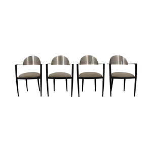 Chrome and Beige Upholstered Dining Chairs second hand