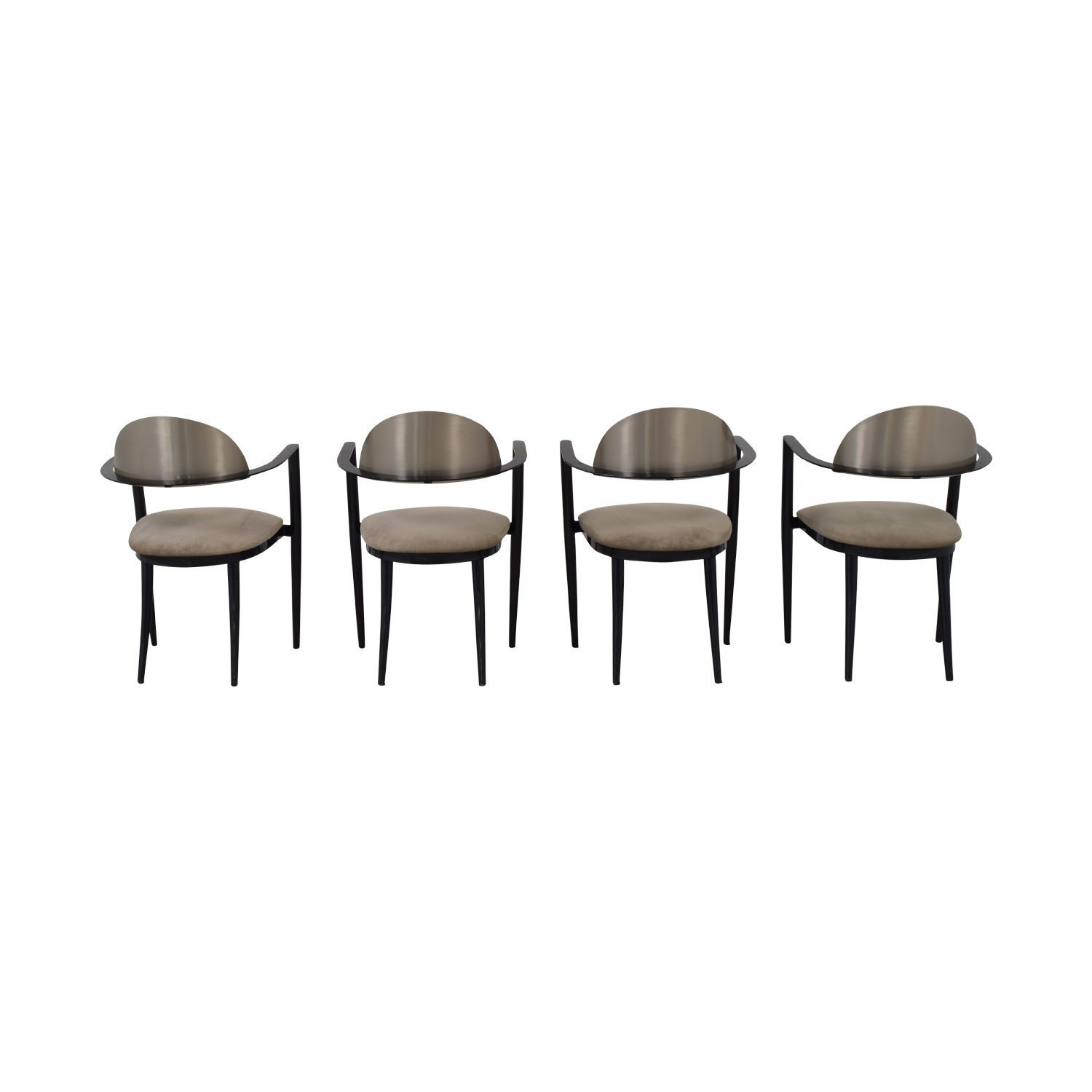 shop Chrome and Beige Upholstered Dining Chairs  Dining Chairs
