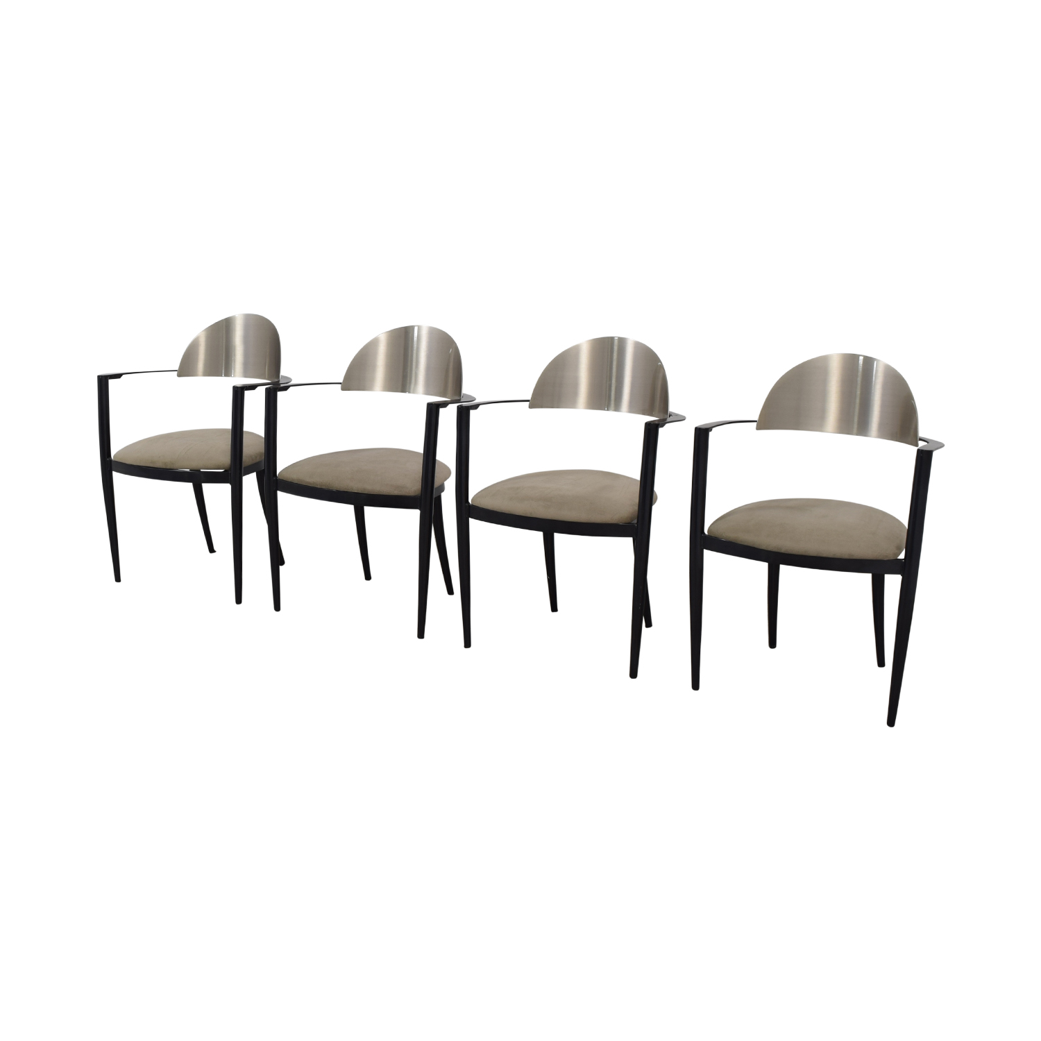Chrome and Beige Upholstered Dining Chairs sale