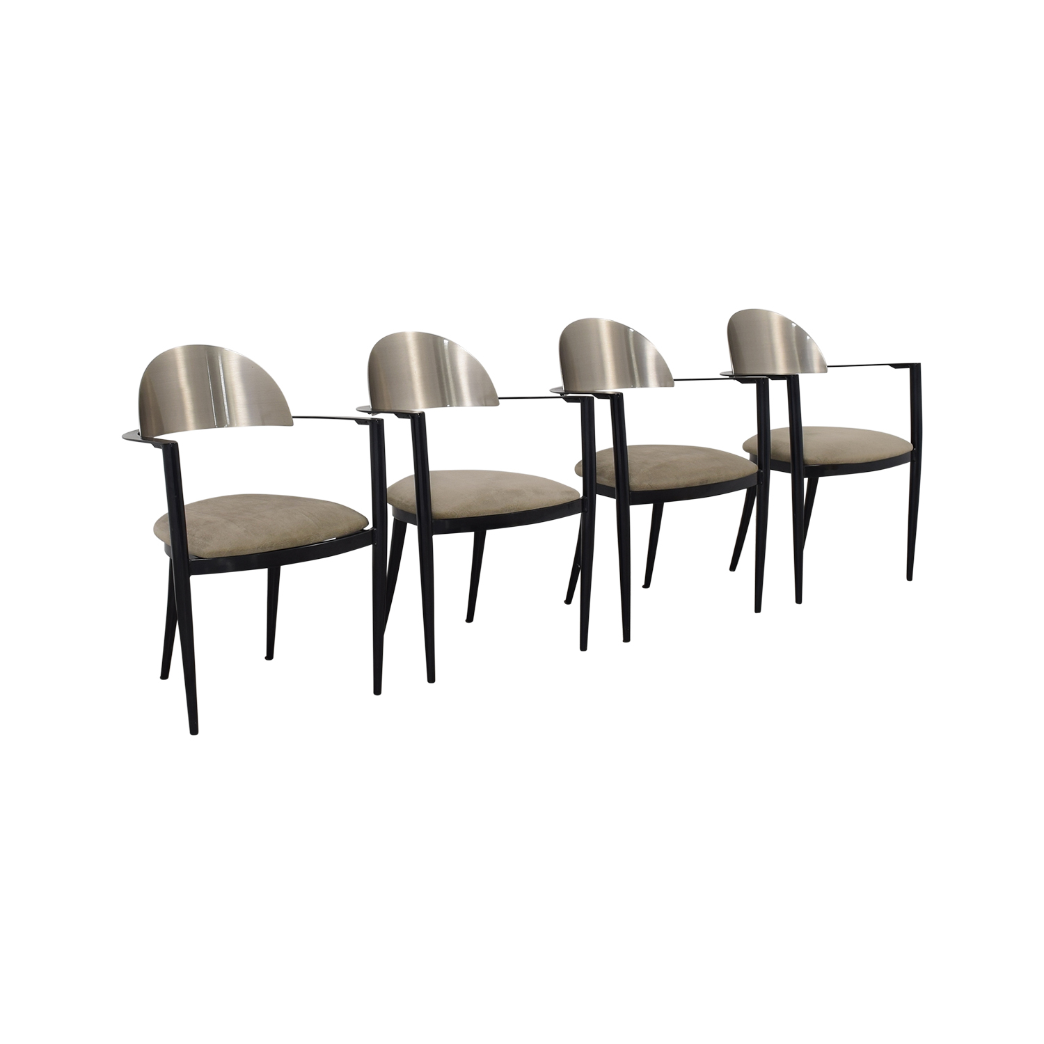 Chrome and Beige Upholstered Dining Chairs on sale