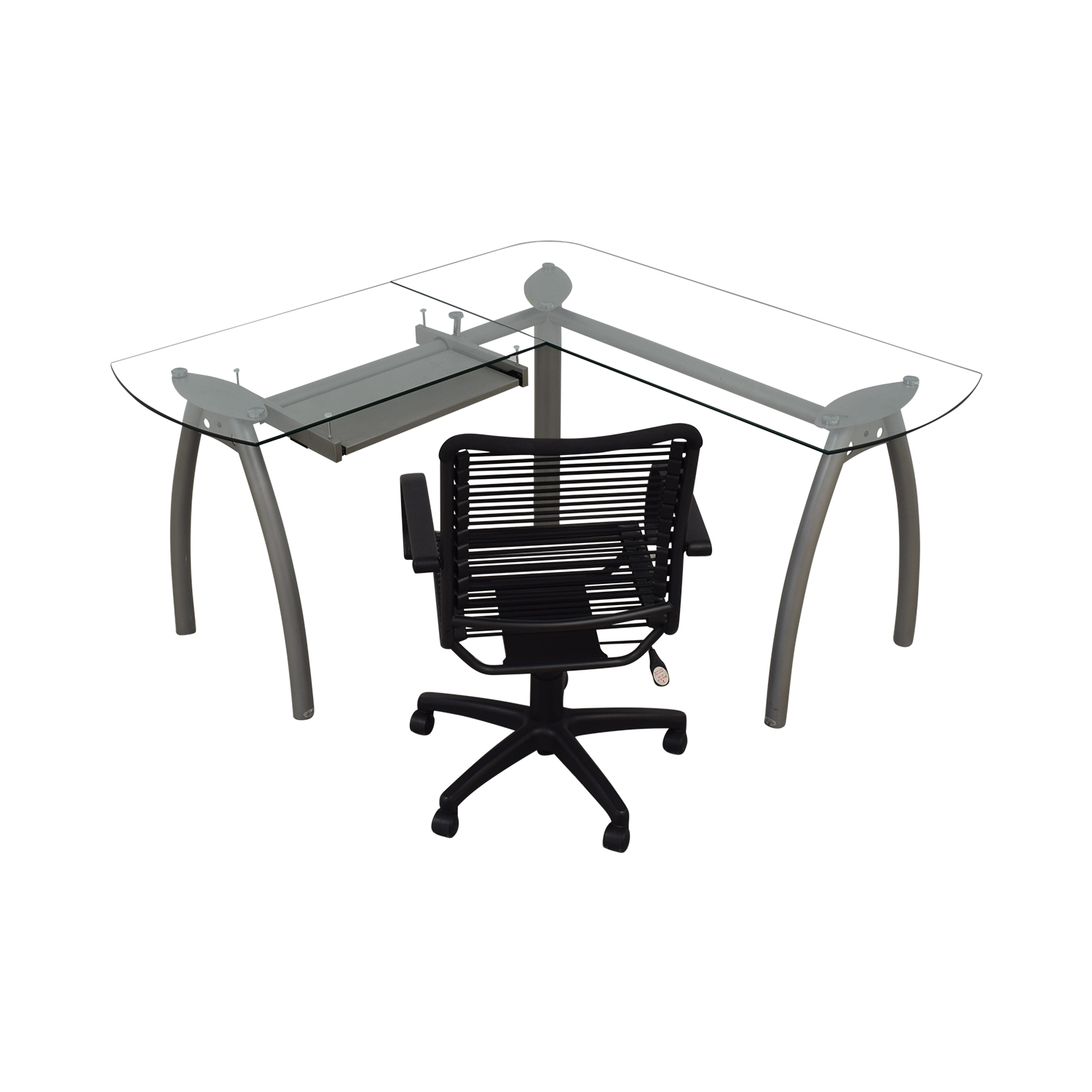 shop L-Shaped Glass and Metal Desk with Chair