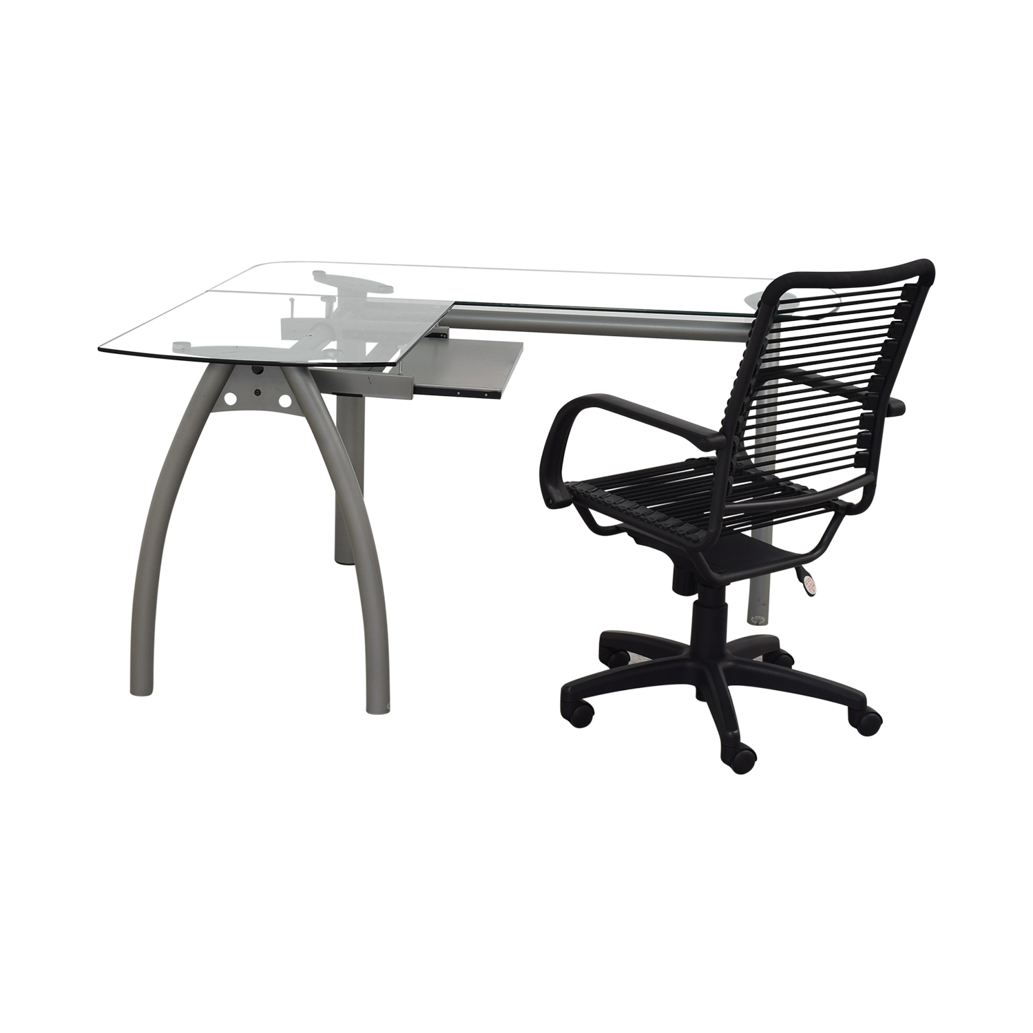 L-Shaped Glass and Metal Desk with Chair grey base, glass top