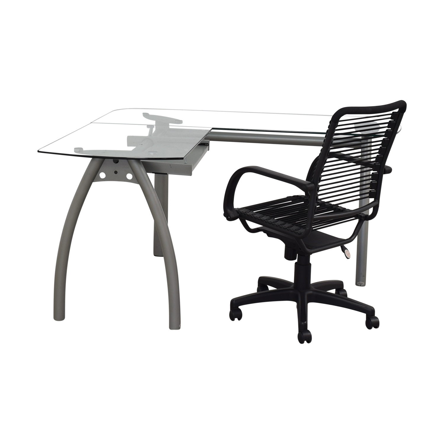 L-Shaped Glass and Metal Desk with Chair / Home Office Desks