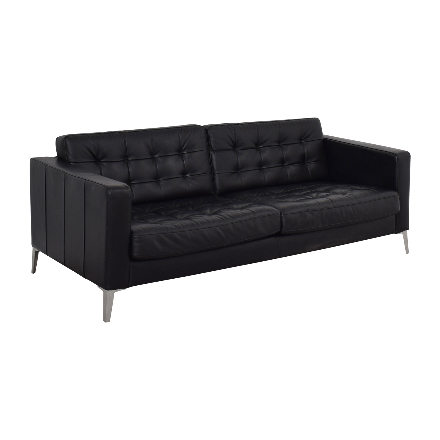 Ikea Black Tufted Two Cushion Sofa