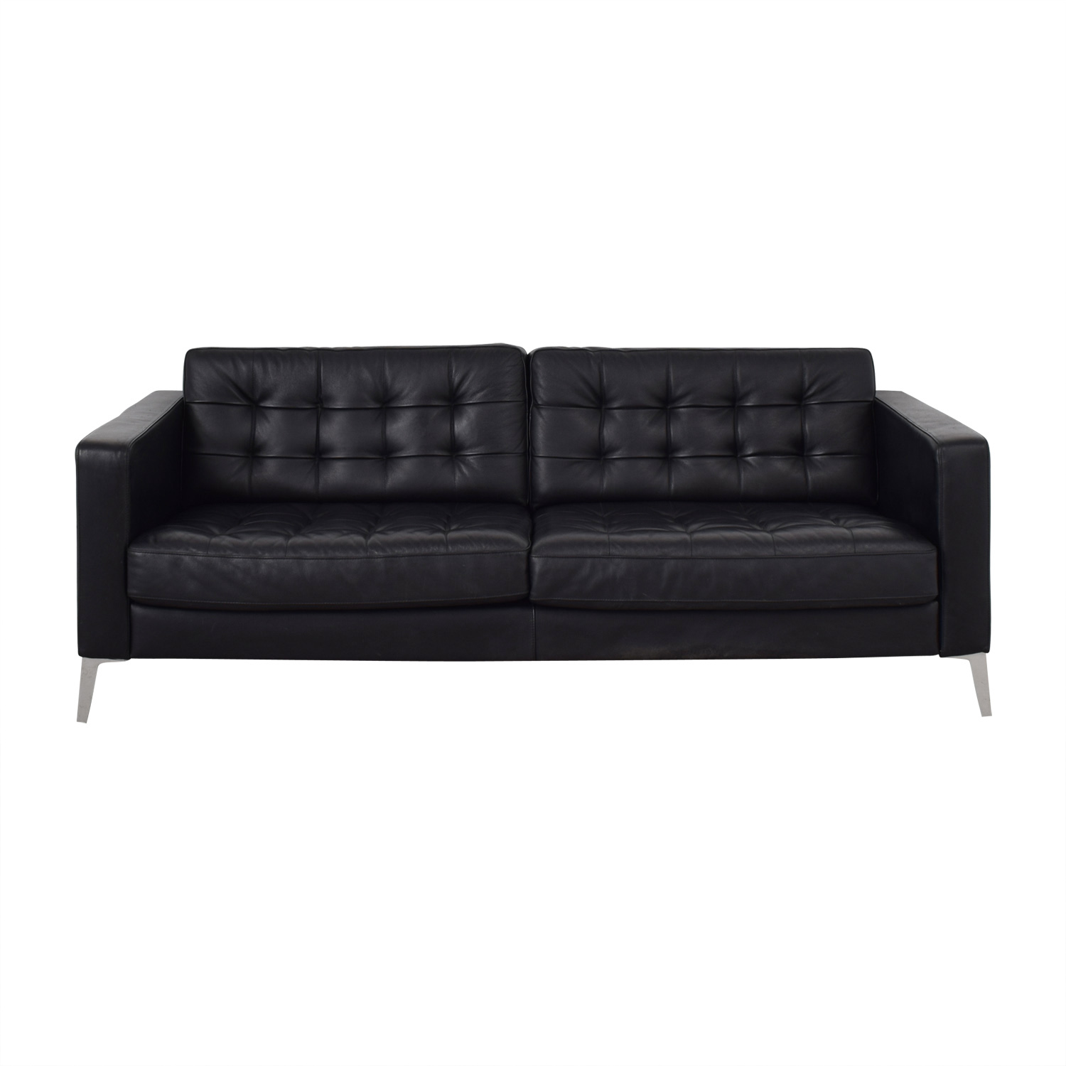 buy IKEA Black Tufted Two-Cushion Sofa IKEA Sofas