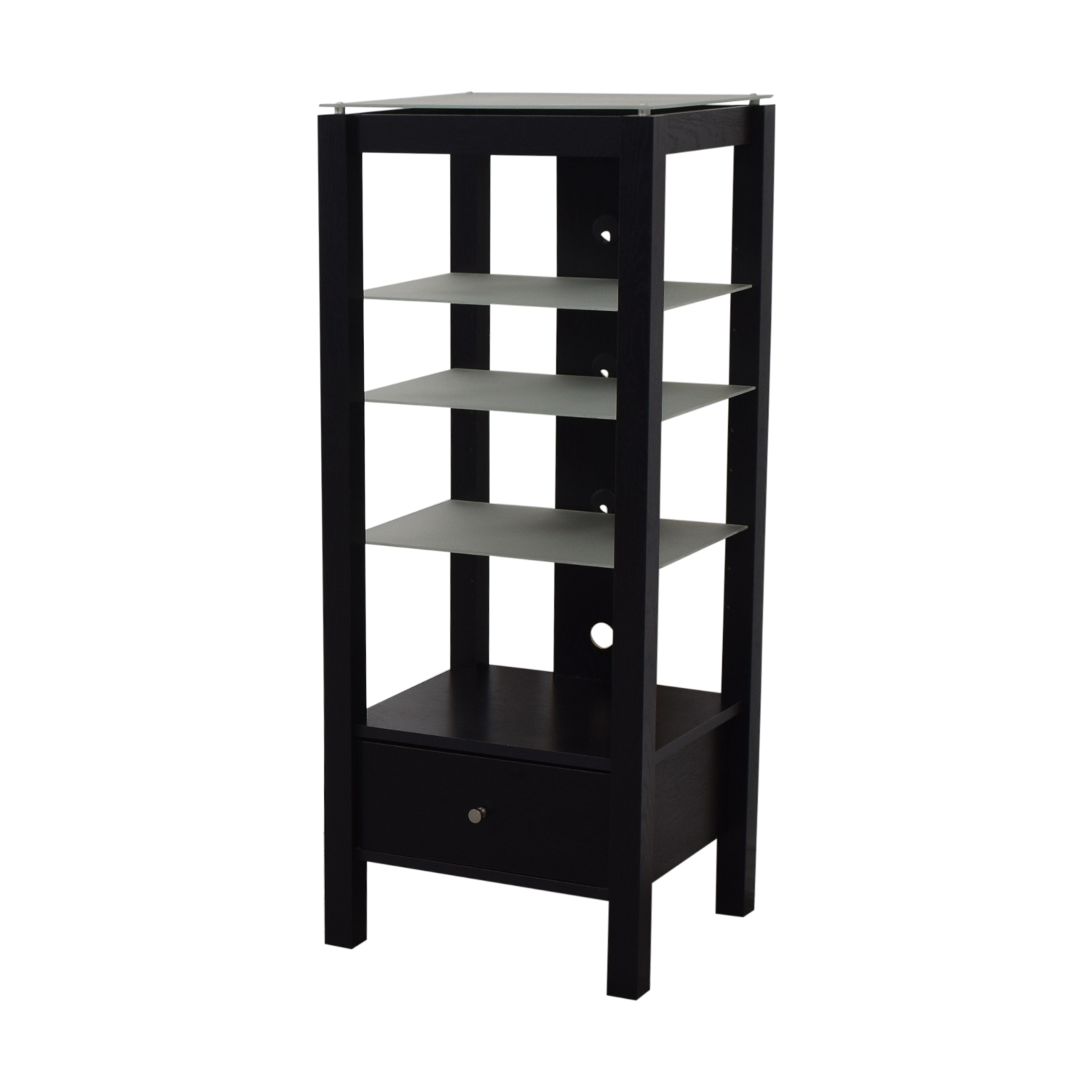 Single Drawer Wood and Glass Entertainment Stand Storage