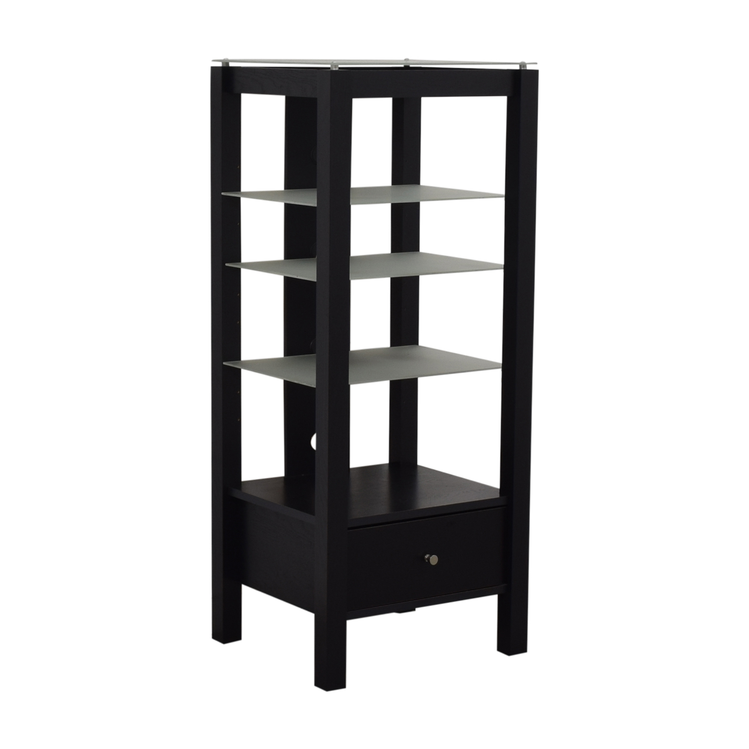 Single Drawer Wood and Glass Entertainment Stand / Bookcases & Shelving