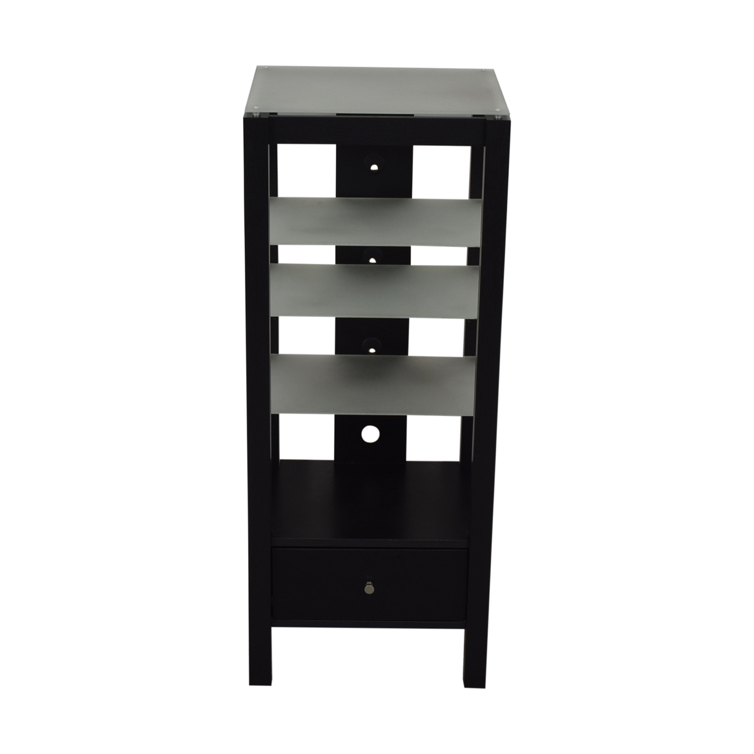 Single Drawer Wood and Glass Entertainment Stand dimensions