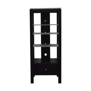 buy Single Drawer Wood and Glass Entertainment Stand