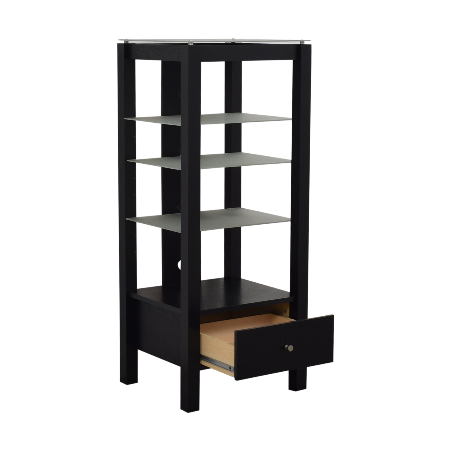 shop Single Drawer Wood and Glass Entertainment Stand  Bookcases & Shelving
