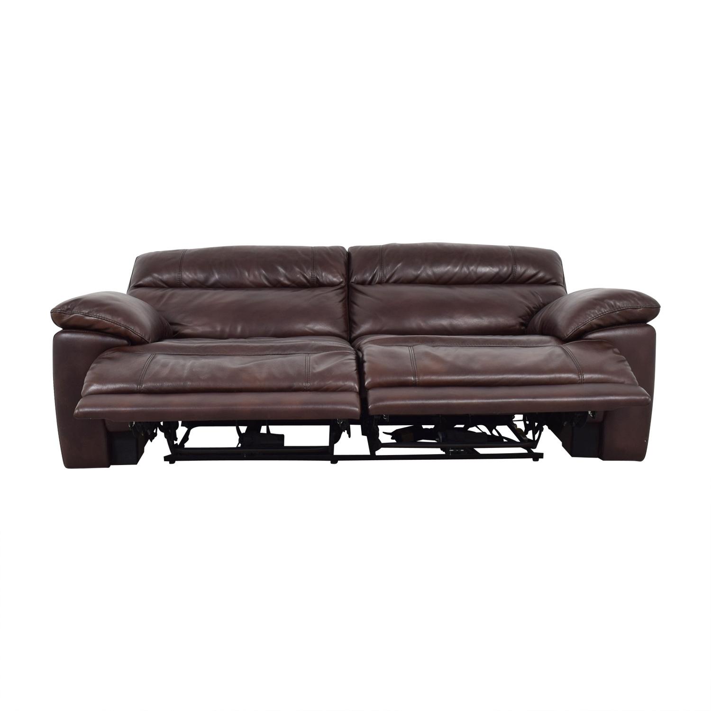 buy Raymour & Flanigan Reclining Brown Two-Cushion Sofa Raymour & Flanigan