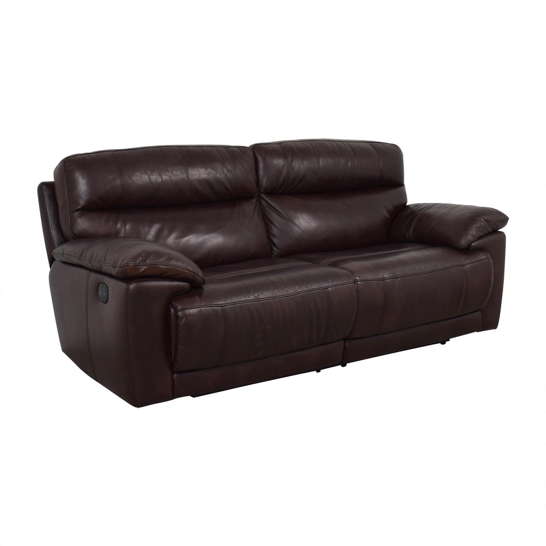 Raymour & Flanigan Reclining Brown Two-Cushion Sofa Raymour & Flanigan