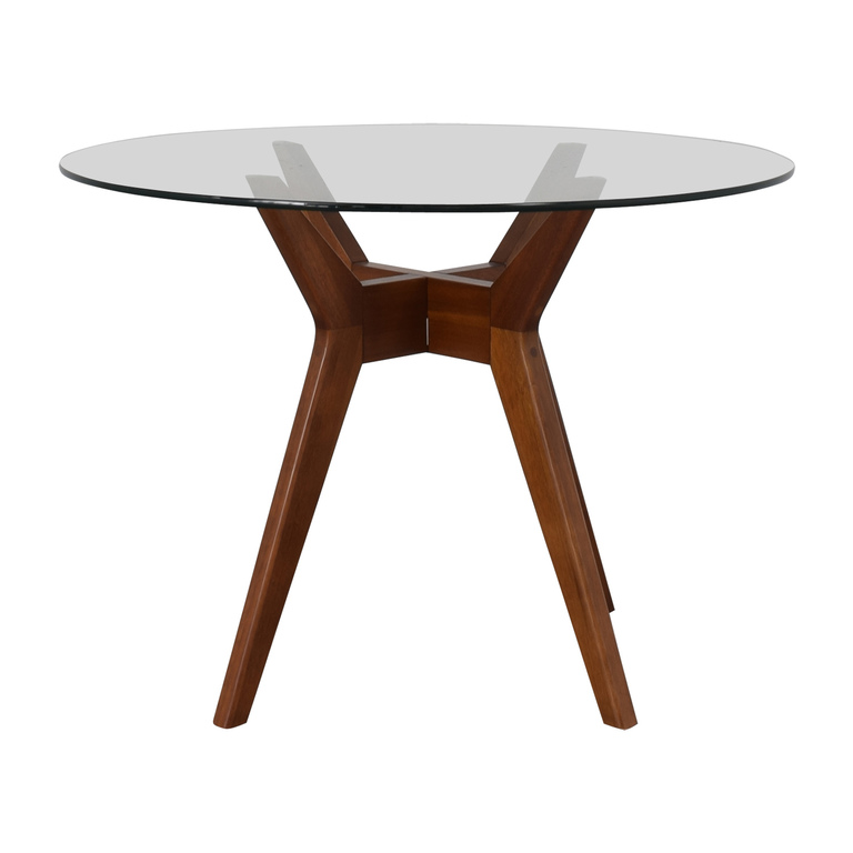West Elm West Elm Jensen Round Glass Dining Table on sale
