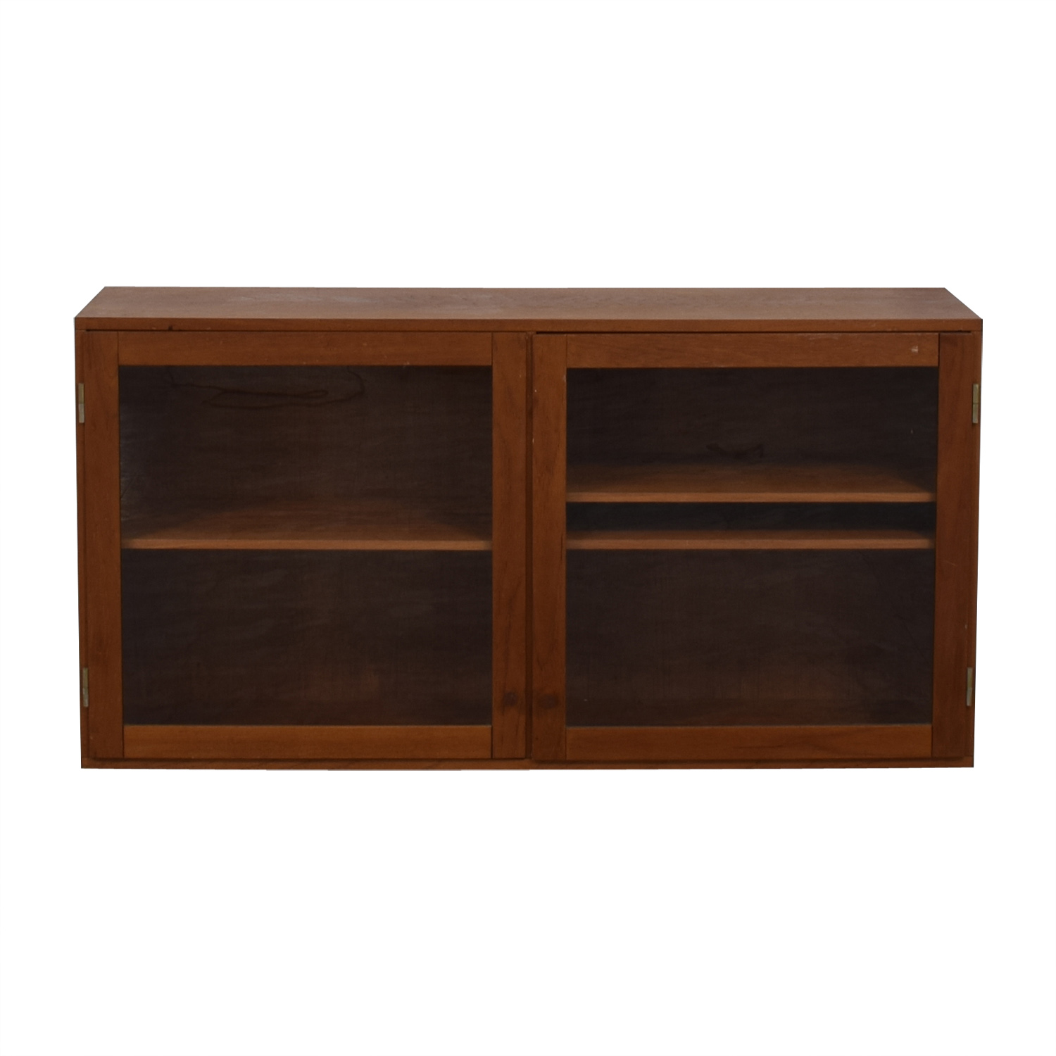 Vintage Wood And Gl Tv Console