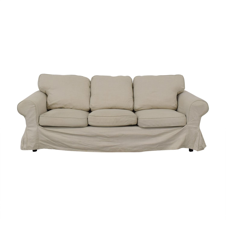 IKEA IKEA Ektorp Lofallet Beige Three-Cushion Sofa dimensions