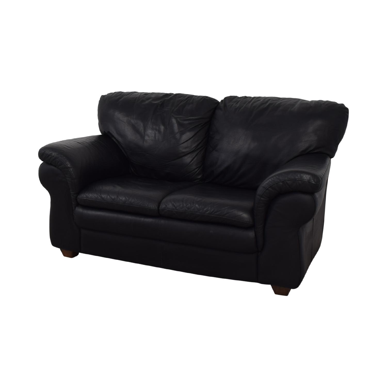 Bloomingdale's Black Two-Cushion Loveseat sale