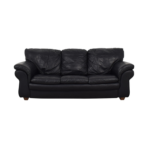 Bloomingdale's Bloomingdale's Black Pull Out Full Bed Three-Cushion Sofa on sale