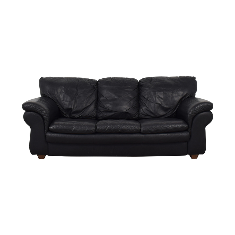 shop Bloomingdale's Black Pull Out Full Bed Three-Cushion Sofa Bloomingdale's