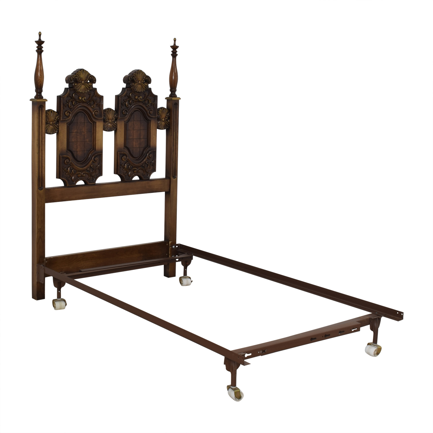 shop Double Wood Twin Bed Frame on Castors