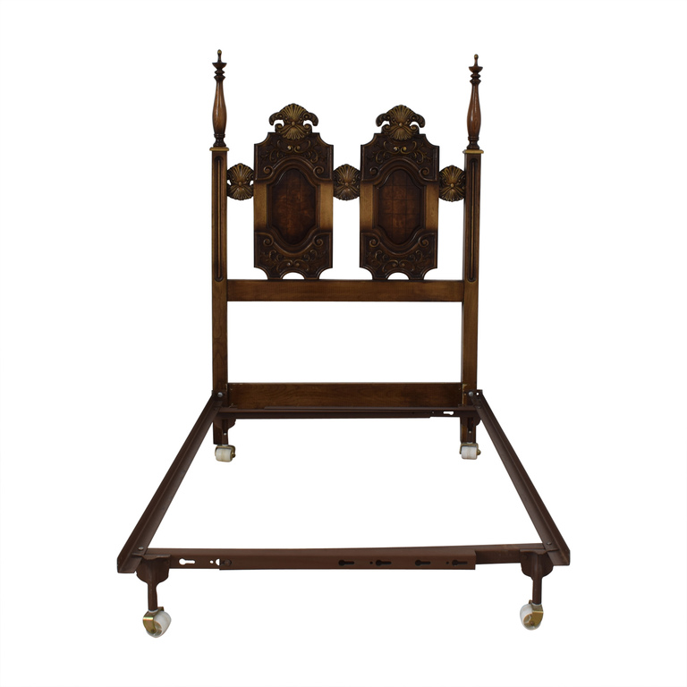 Double Wood Twin Bed Frame on Castors for sale
