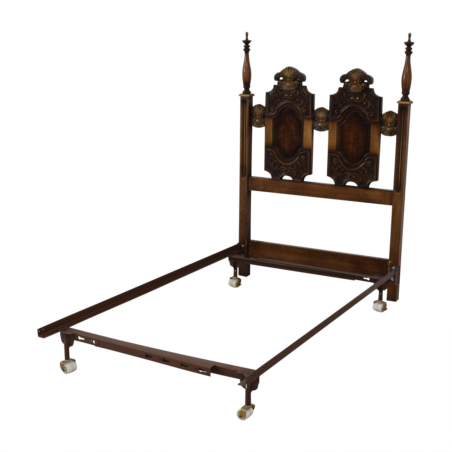 Double Wood Twin Bed Frame on Castors coupon