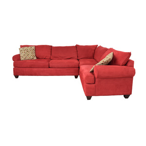 Raymour & Flanigan Raymour & Flanigan Red L-Shaped Sectional nyc