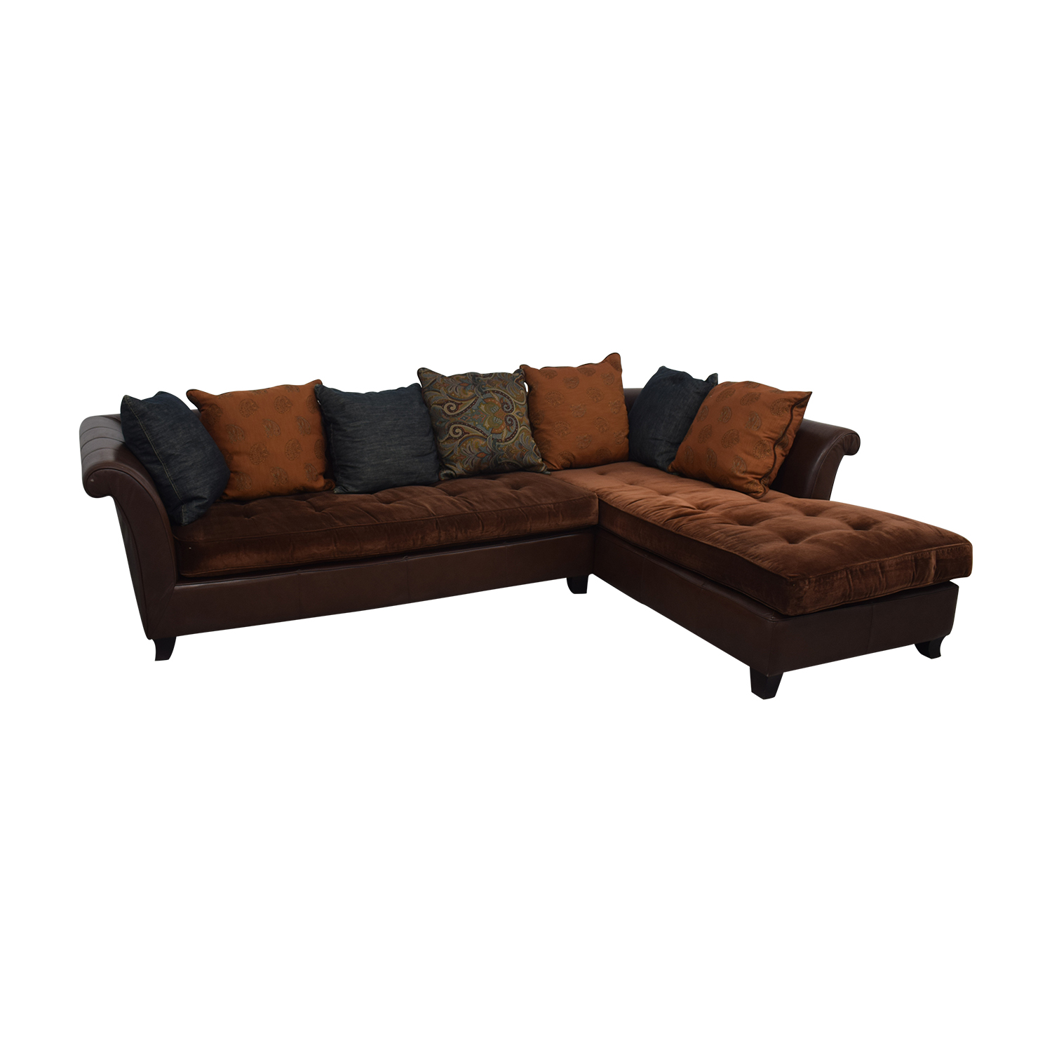 buy Brown Tufted L-Shaped Sectional