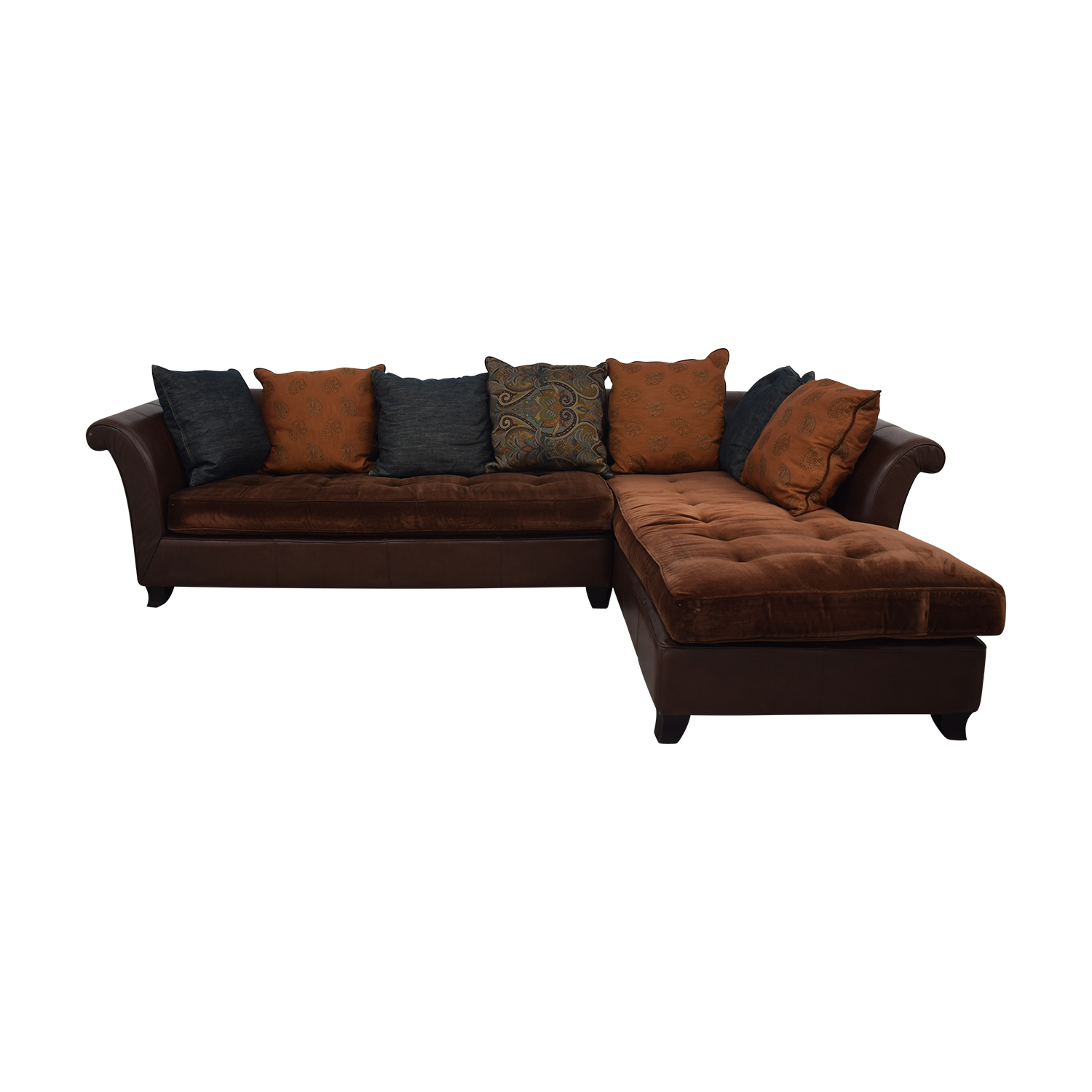 shop Brown Tufted L-Shaped Sectional  Sectionals