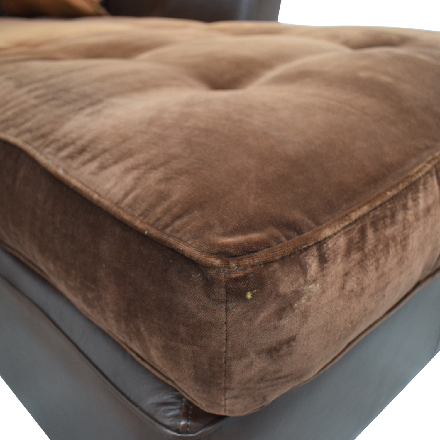 Brown Tufted L-Shaped Sectional / Sofas