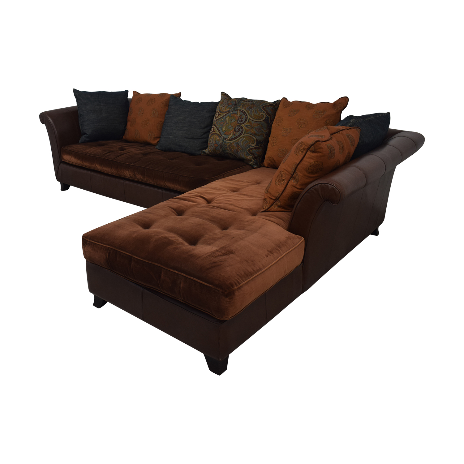 buy Brown Tufted L-Shaped Sectional  Sofas