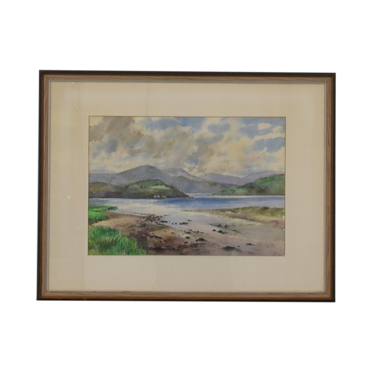 Original Mountain Scene Framed Watercolor nj