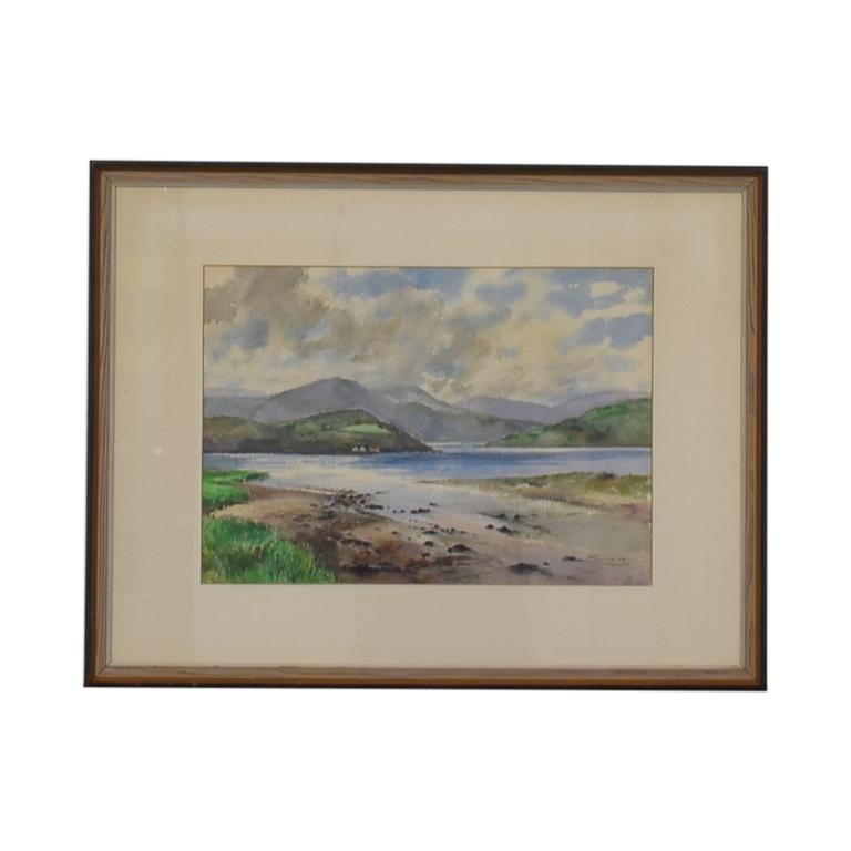 Original Mountain Scene Framed Watercolor