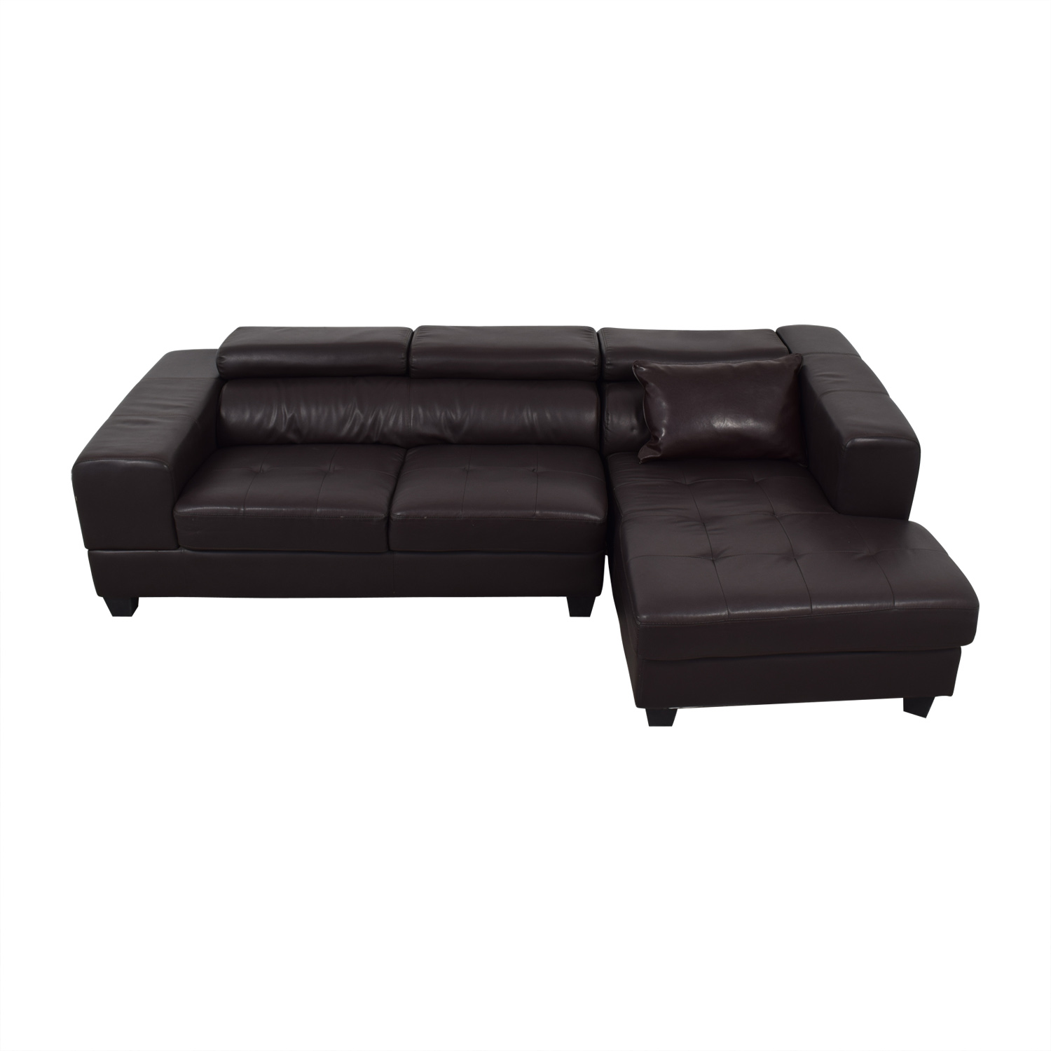 Brown Tufted Faux Leather Chaise Sectional Sofas