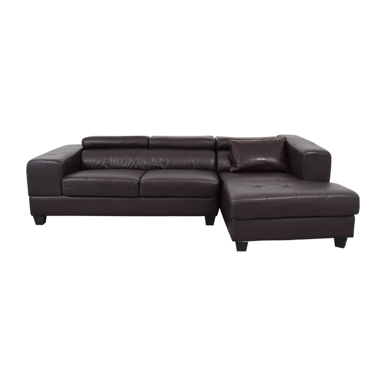 Brown Tufted Faux Leather Chaise Sectional / Sofas