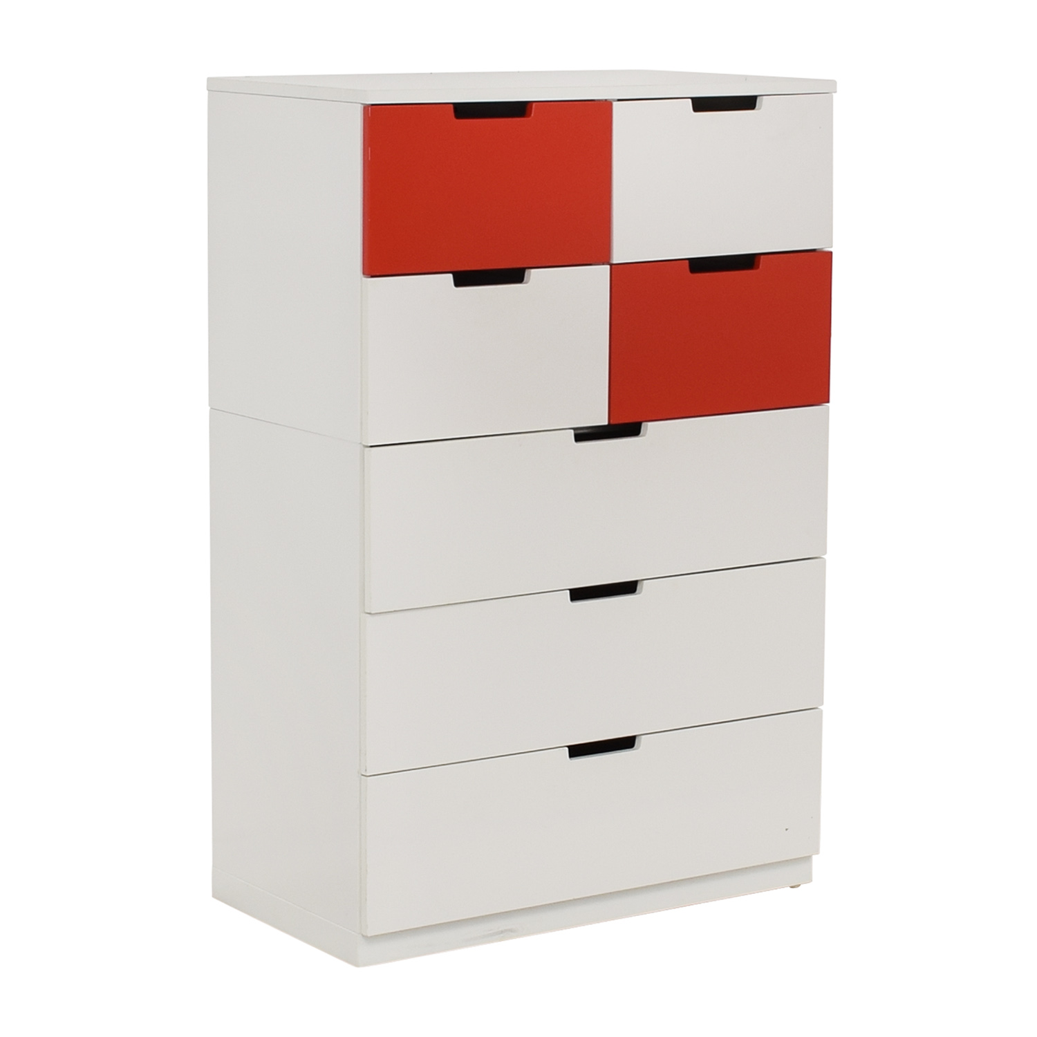 IKEA White and Red Seven-Drawer Unit / Dressers
