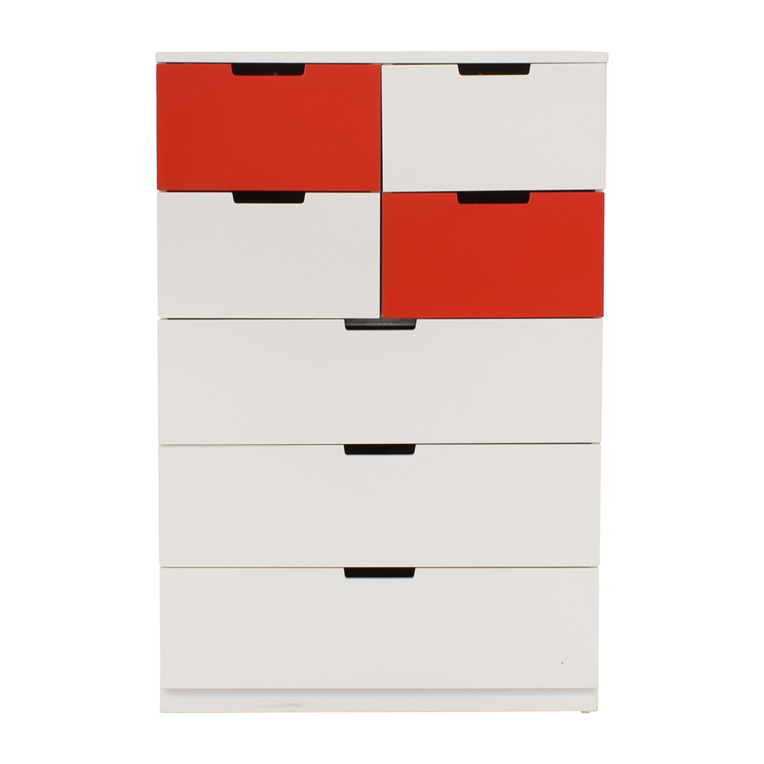IKEA White and Red Seven-Drawer Unit / Storage
