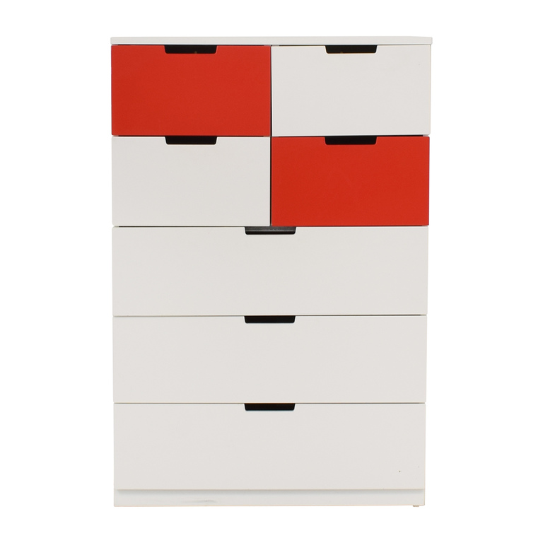 IKEA White and Red Seven-Drawer Unit sale