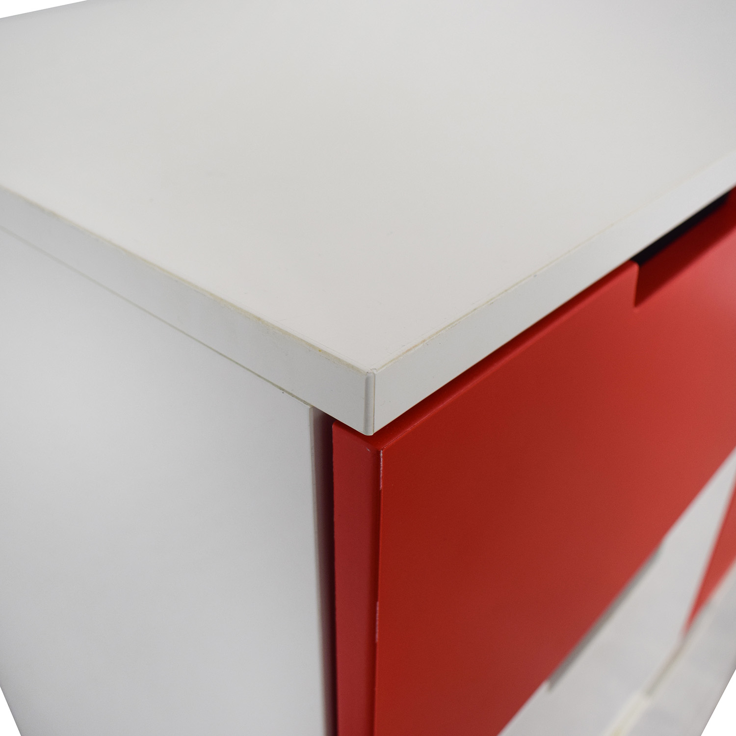 IKEA IKEA White and Red Seven-Drawer Unit used